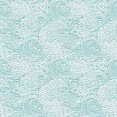 Vector waves sea ocean seamless background pattern. Big and small bursts splash with foam and bubbles. Outline sketch illustration.