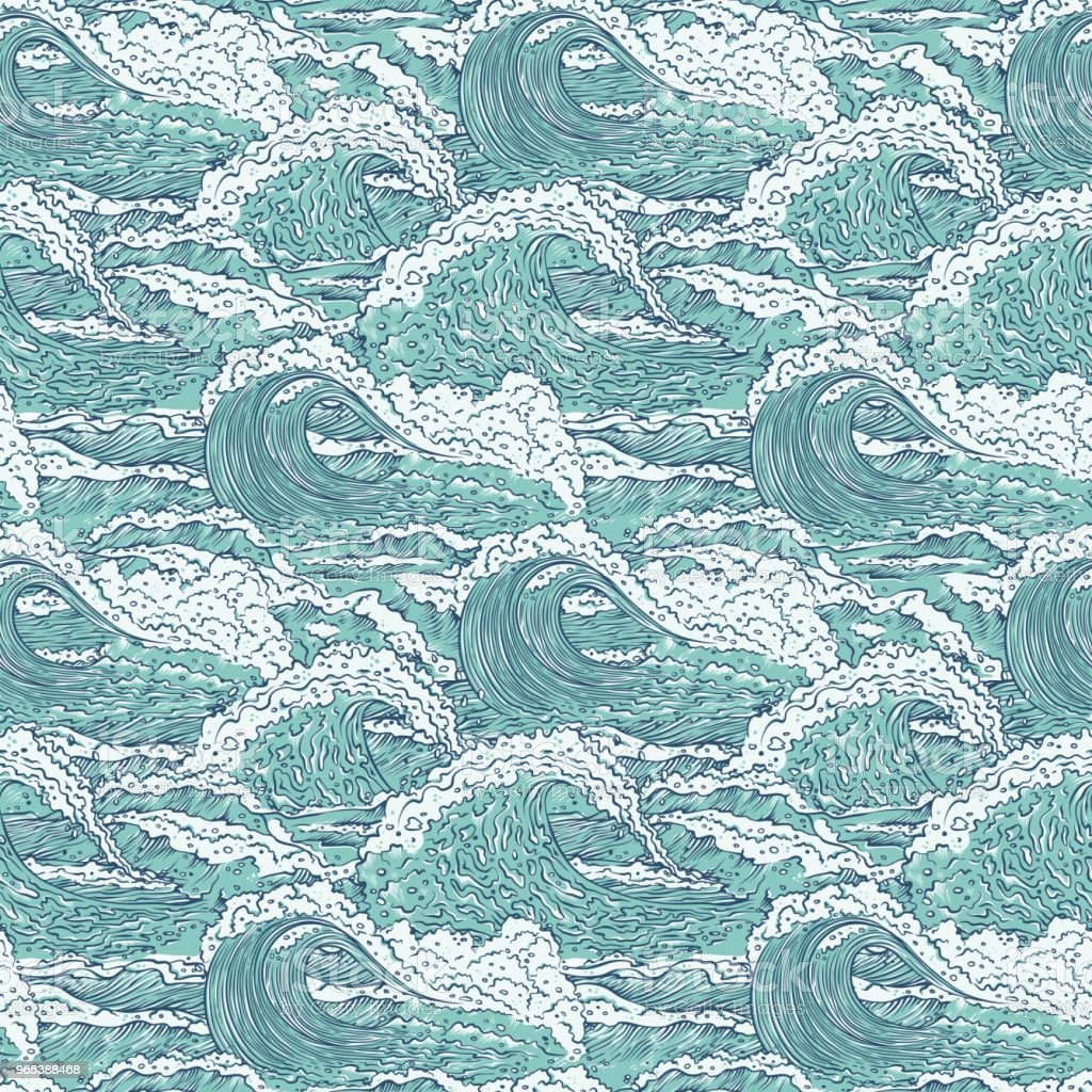 Vector waves sea ocean seamless pattern. Big and small azure bursts splash with foam and bubbles. Outline sketch illustration background vector waves sea ocean seamless pattern big and small azure bursts splash with foam and bubbles outline sketch illustration background - stockowe grafiki wektorowe i więcej obrazów bańka royalty-free