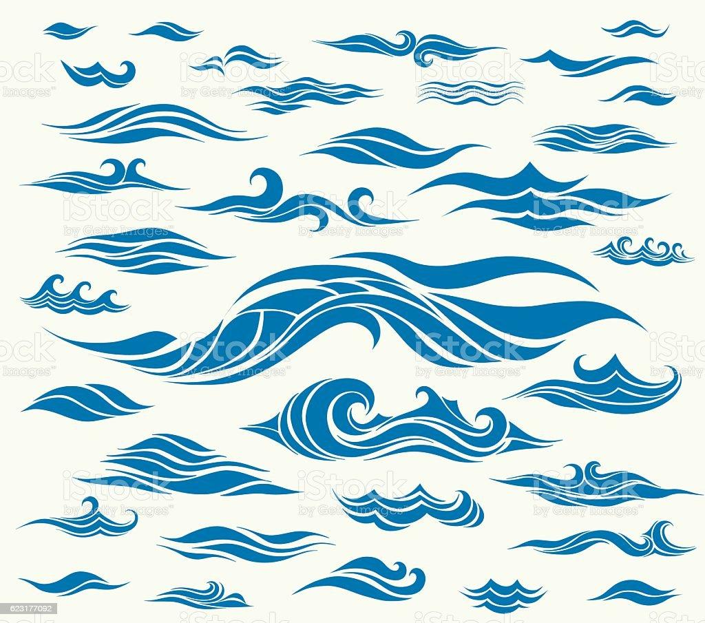 Vector waves set of elements for design vector art illustration