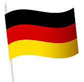istock Vector Waving flag on a flagpole. The national flag of Germany. 1282808255