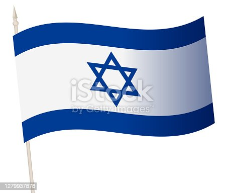 Vector Waving flag on a flagpole. The national flag of Israel. Color symbol isolated on white.