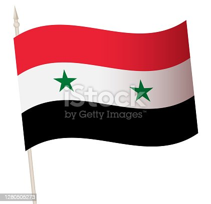 Vector Waving flag on a flagpole. The national flag of Syria. Color symbol isolated on white.