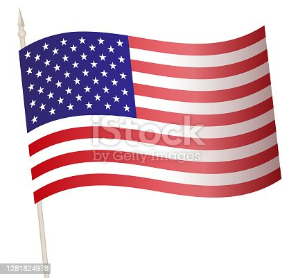 Vector Waving flag on a flagpole. The national flag of USA. Color symbol isolated on white.