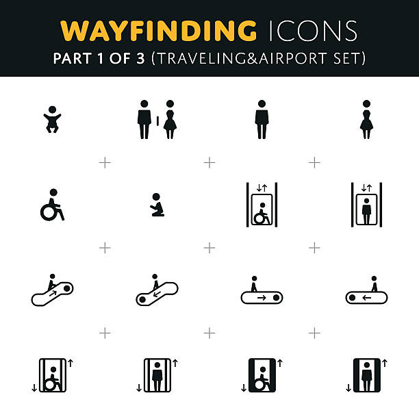 vector wayfinding icons set - wayfinding icons stock illustrations, clip art, cartoons, & icons