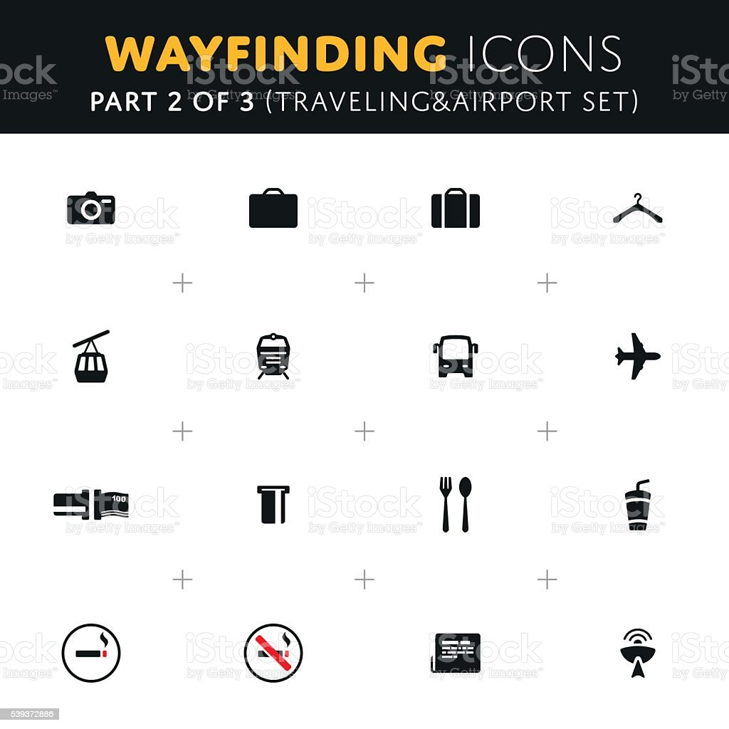 Vector Wayfinding Icons Set vector art illustration