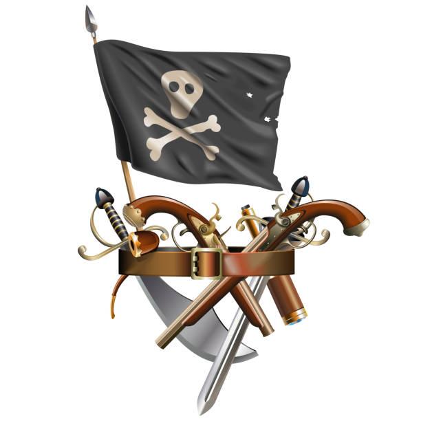 Vektor-Waffengürtel mit Piratenflagge – Vektorgrafik