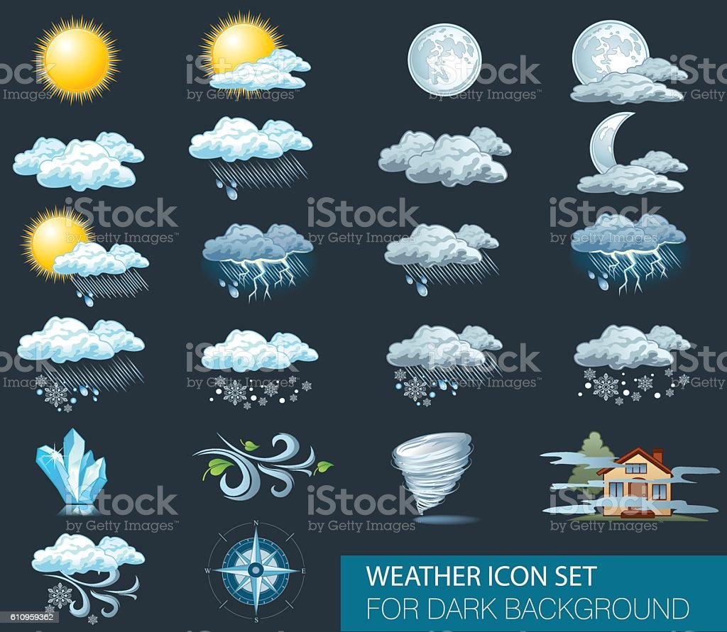 Vector weather forecast icons with dark background vector art illustration