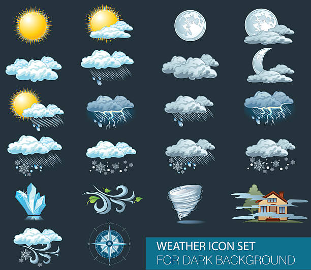 Vector weather forecast icons with dark background Vector weather forecast icons with dark background. Day and night storm stock illustrations