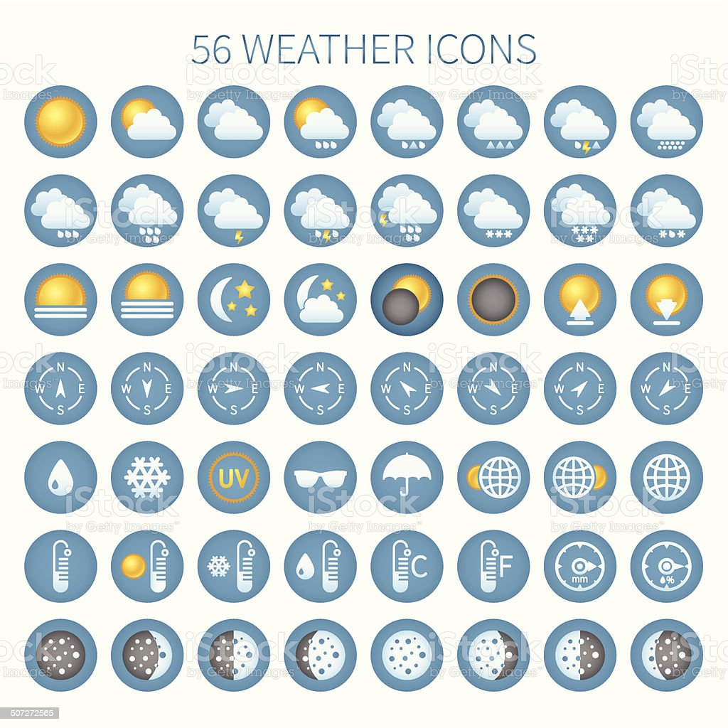 Vector weather icon set for widgets and sites. vector art illustration