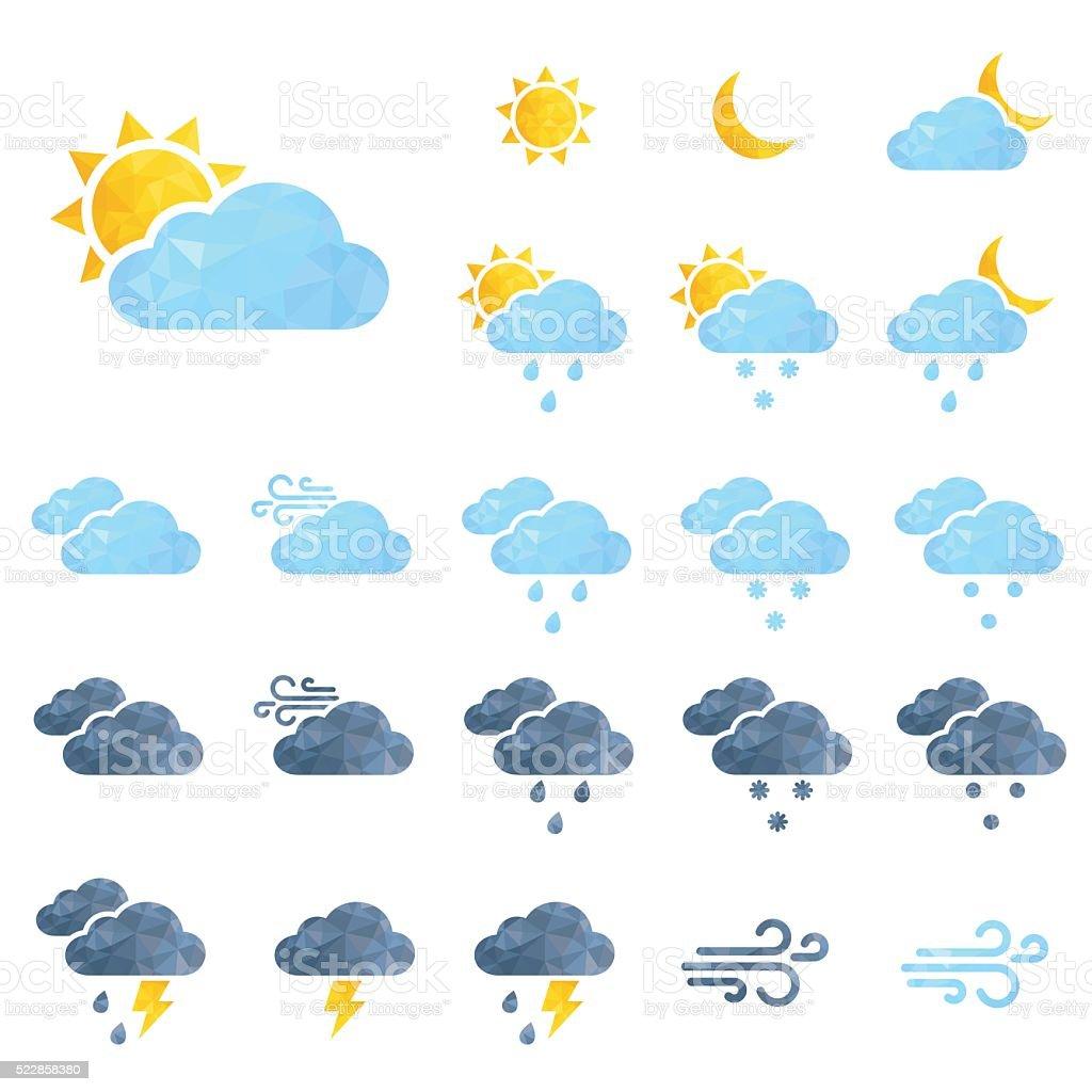 Vektor Wetter icons set - Lizenzfrei Bedeckter Himmel Vektorgrafik
