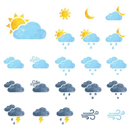 Vektor Wetter Icons Set Stock Vektor Art und mehr Bilder von Bedeckter Himmel