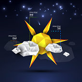 Designer creative weather infographics: sun, clouds, stars. Origami design. Can be used as a background, web design, infographics, banner, weather icon, nature concept