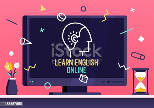 istock Vector Web Banner Design for Learn English Online 1183387555