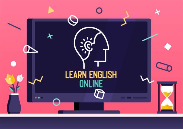 온라인 영어 학습을 위한 벡터 웹 배너 디자인 - 잉글랜드 문화 stock illustrations