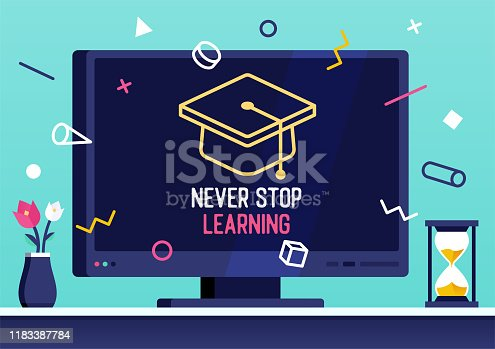 istock Vector Web Banner Design for Never Stop Learning 1183387784