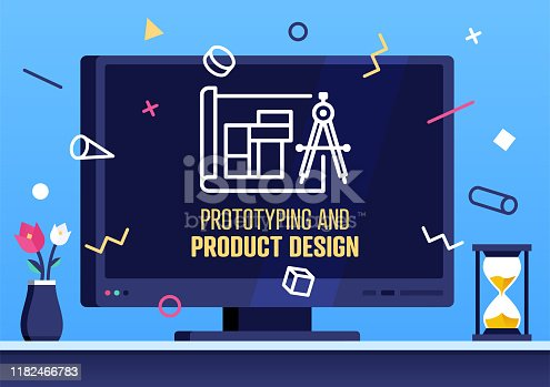 Vector flat design template with smart television and prototyping & product design text on its screen. Colorful illustration design with trendy decorations for corporate marketing or various vector illustrations.