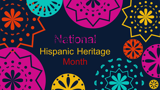 Vector . Web banner, poster, cover, splash screen, social media with place to place your text. Perforated bright patterns Papel Picado pattern on a color background. Hispanic Heritage Month.