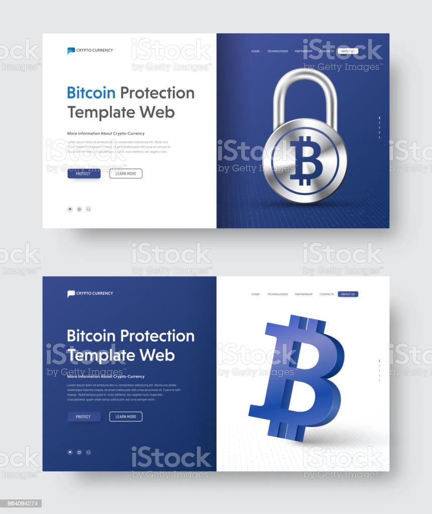 南京錠と bitcoin の 3d アイコン ベクトル web バナー テンプレート。 - 3Dのロイヤリティフリーベクトルアート