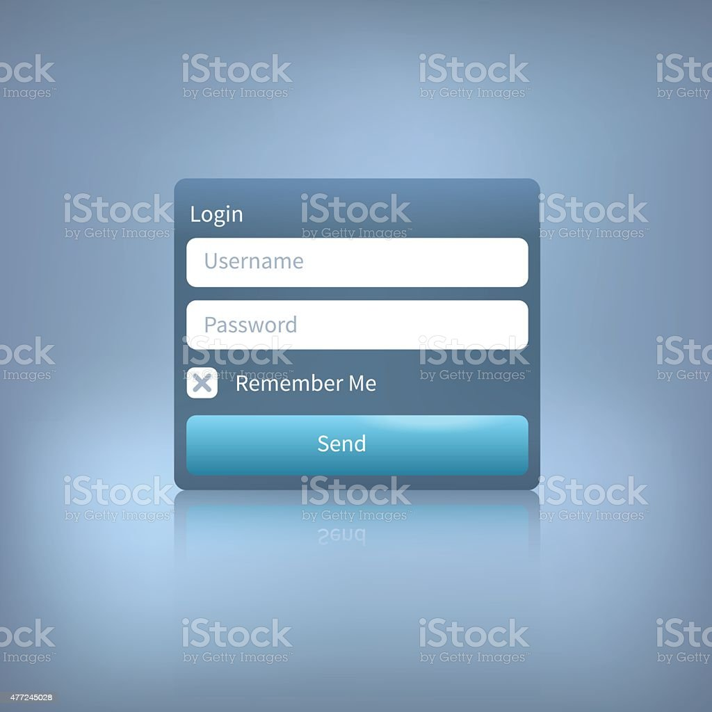 vector web login panel with button on blue background vector art illustration