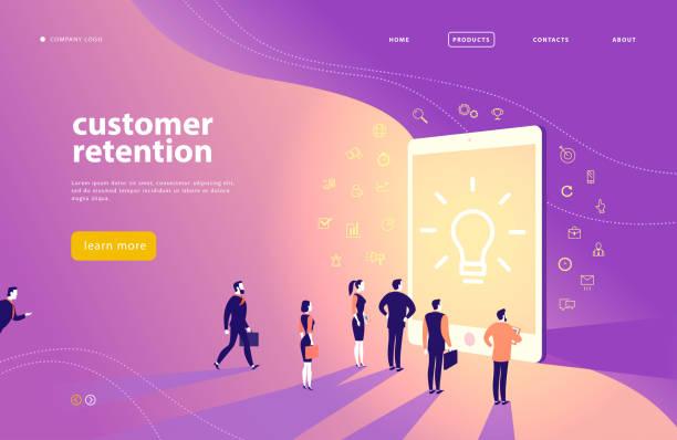 ilustrações de stock, clip art, desenhos animados e ícones de vector web page concept design with customer retention theme - office people stand at big digital tablet screen. - inbound marketing
