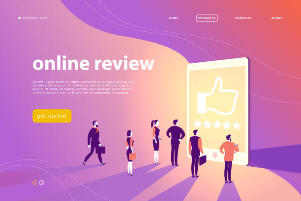 vector web page concept design with online review theme - office people stand at big digital tablet watch shining screen with five stars. - expert stock illustrations
