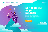 istock Vector web page design template - business solutions, consulting, marketing, support concept. 1143015533