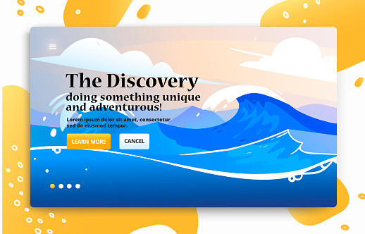 Vector website banner with travel illustration of sea wave, beach.