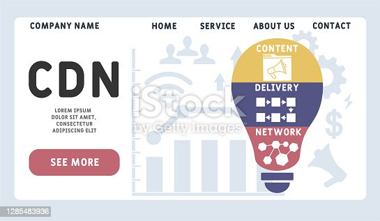 Vector website design template . CDN - Content Delivery Network acronym, business concept. illustration for website banner, marketing materials, business presentation, online advertising.