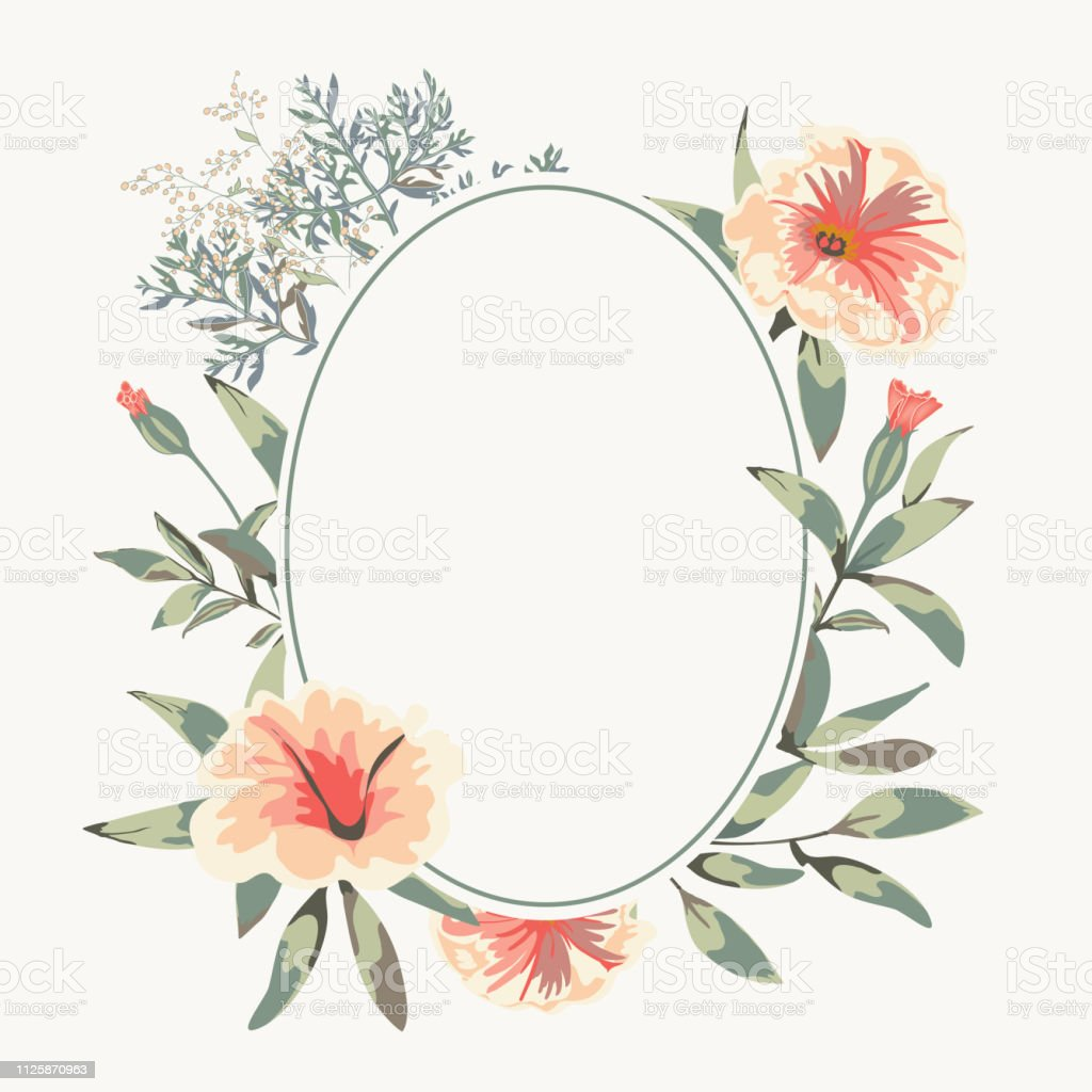 Vector Wedding Card With Round Empty Banner And Floral Bunch With