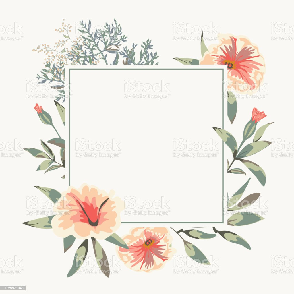 Vector Wedding Card With Square Empty Banner And Floral Bunch With