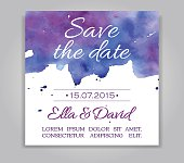 Vector wedding invitation card with watercolor background. Template Wedding invitation or announcements. Save the date wedding invitation in blue and violet colors