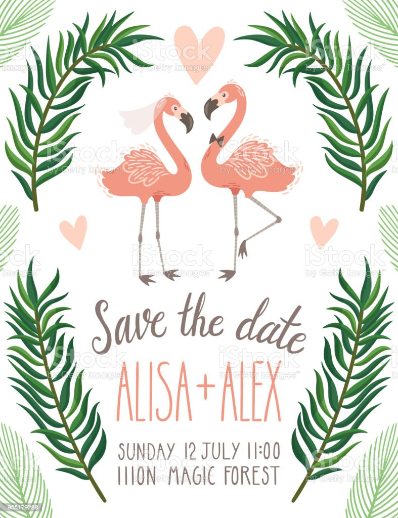 Vector wedding invitation with flamingo palm leaves and hand written vector wedding invitation with flamingo palm leaves and hand written text save the date stopboris Image collections