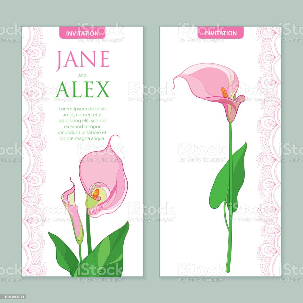 Vector Wedding Invitation With Outline Calla Lily Flower Or