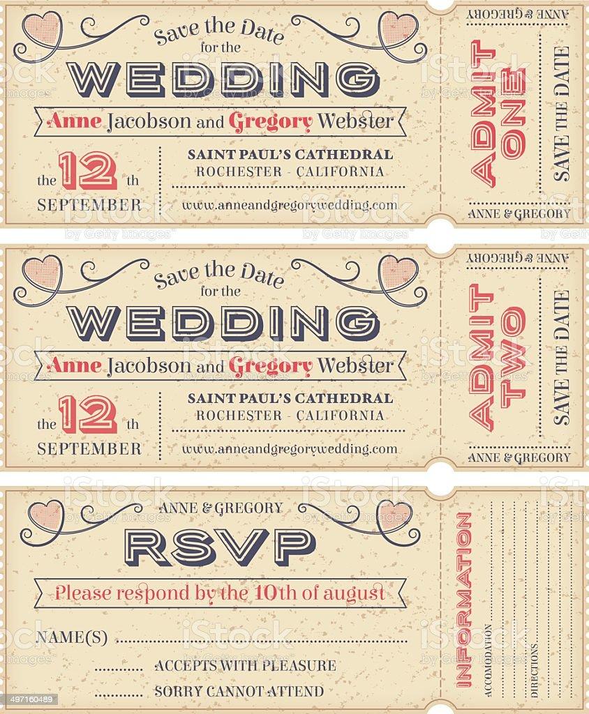 Vector Wedding Invite Tickets vector art illustration