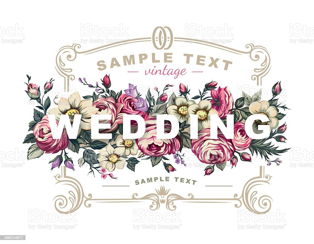 Vector wedding label with a frame composed of detailed flowers vector art illustration