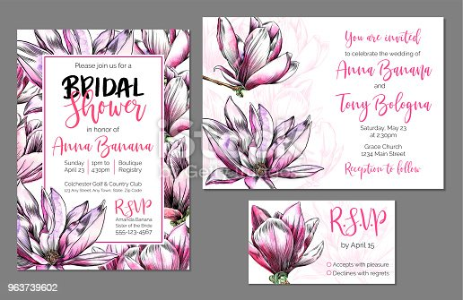 istock Vector Wedding Stationary Set, Bridal Shower and Wedding Invitation, RSVP, with Watercolor and Ink Magnolia Flowers 963739602