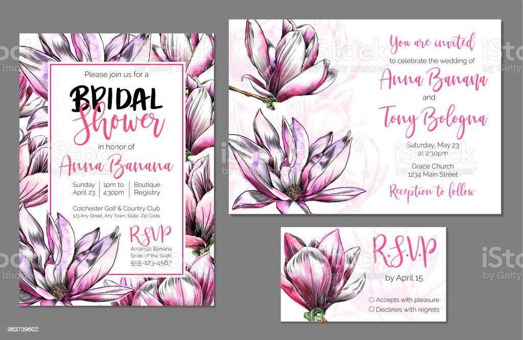 Vector stationnaire douche ensemble, Bridal de mariage et faire-part de mariage, RSVP, aquarelle et encre Magnolia fleurs - Illustration vectorielle