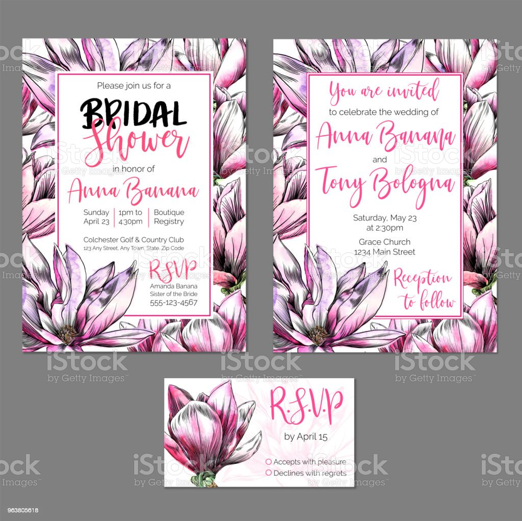 Wedding Invitation Watercolor Flowers Vector: Vector Wedding Stationary Set Bridal Shower And Wedding