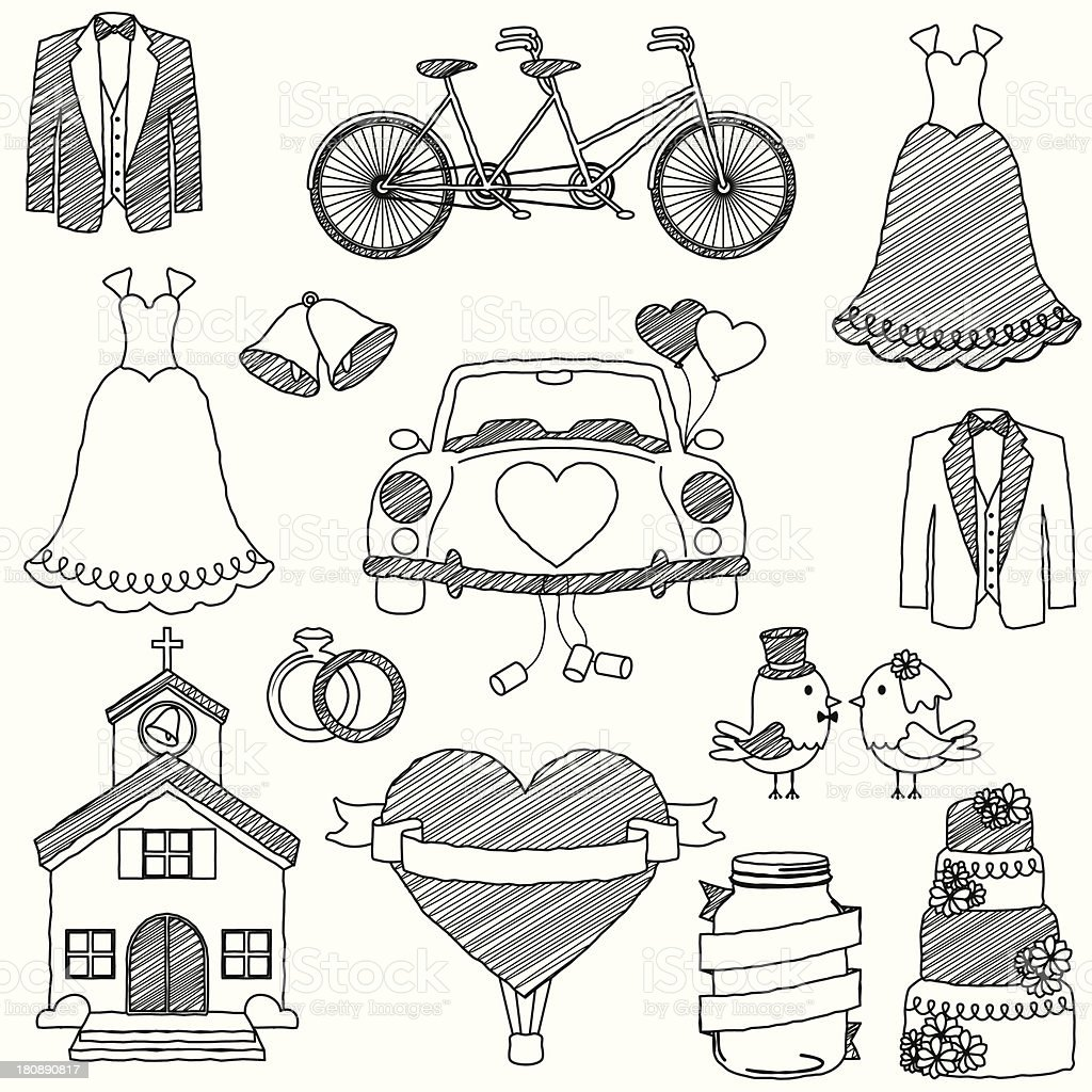 Vector Wedding Themed Doodles vector art illustration