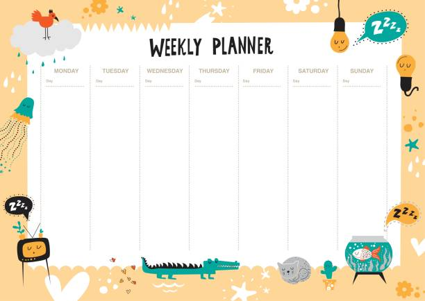 vector weekly planner for kids - wildlife calendar stock illustrations, clip art, cartoons, & icons