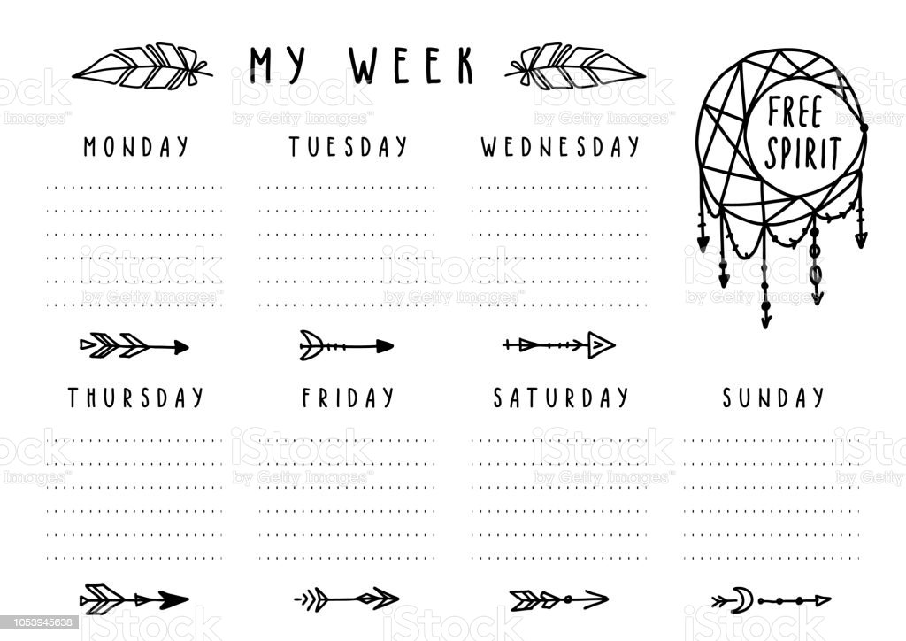 picture regarding Printable Arrows known as Vector Weekly Planner Within just Boho Structure With Arrows And Feathers