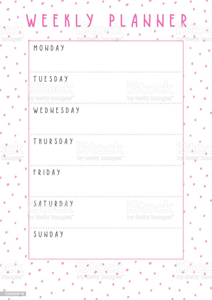 picture about Cute Weekly Planner Printable titled Vector Weekly Planner Within just Lovely Structure With Polka Dot Practice