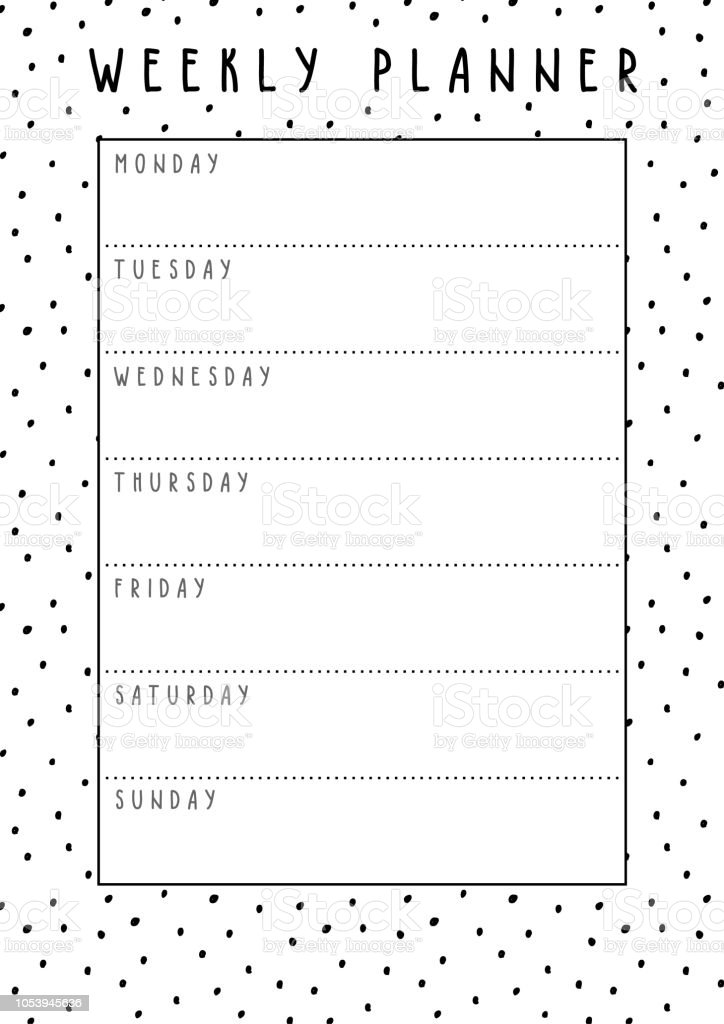 photo relating to Cute Weekly Planner Printable identified as Vector Weekly Planner In just Lovely Layout With Polka Dot Practice