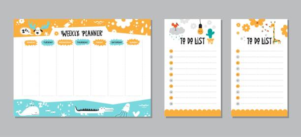 vector weekly planner template - wildlife calendar stock illustrations, clip art, cartoons, & icons