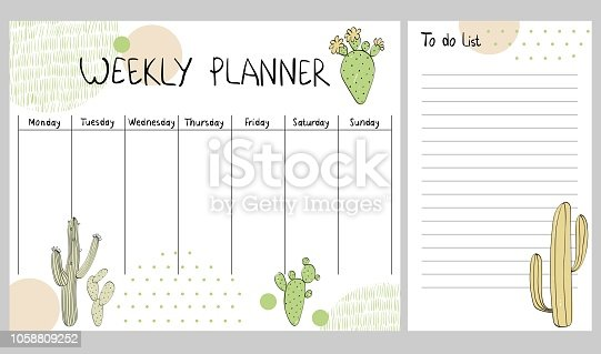 Hand drawing vector weekly planner with cactuses.