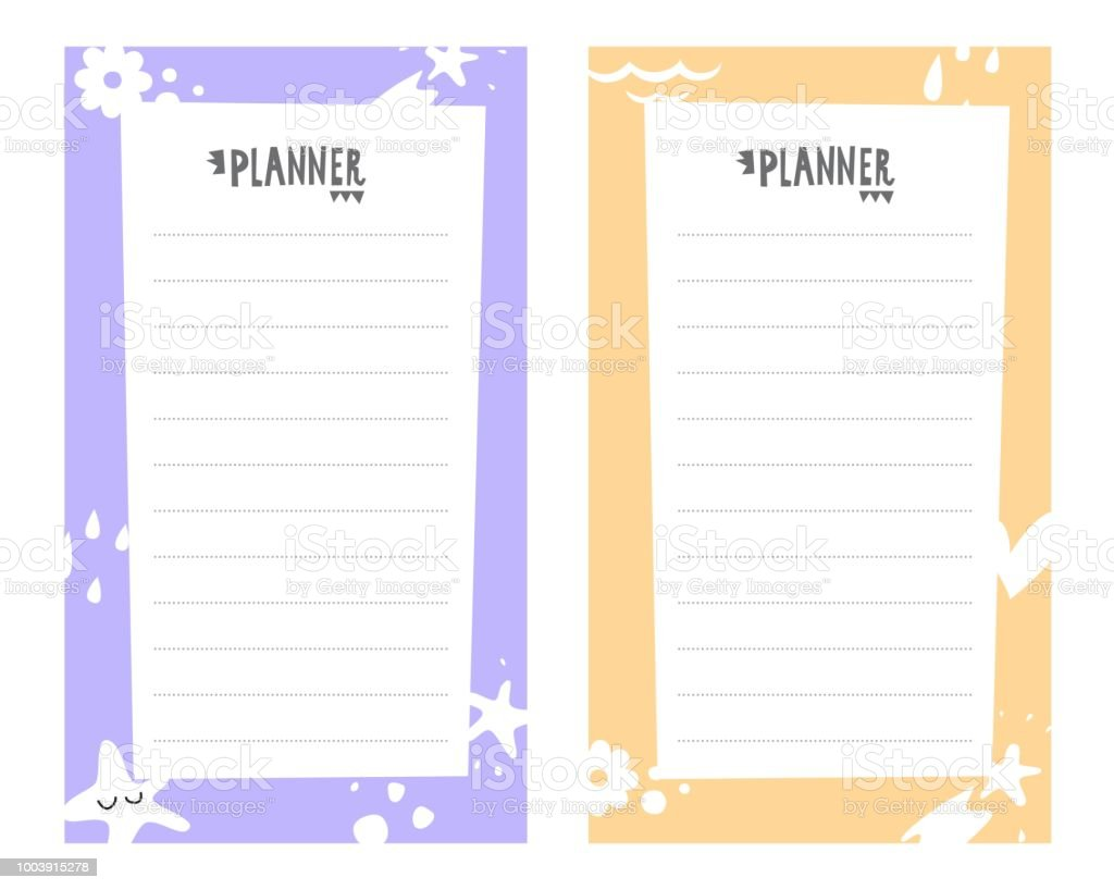 Vector Weekly Planner With Cute Elements Schedule Design Template ...