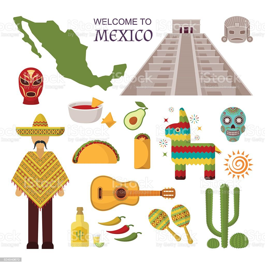 Vector welcome to mexico america guitar set, cactus design icons vector art illustration