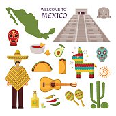 Vector welcome to mexico america guitar set, cactus design icons