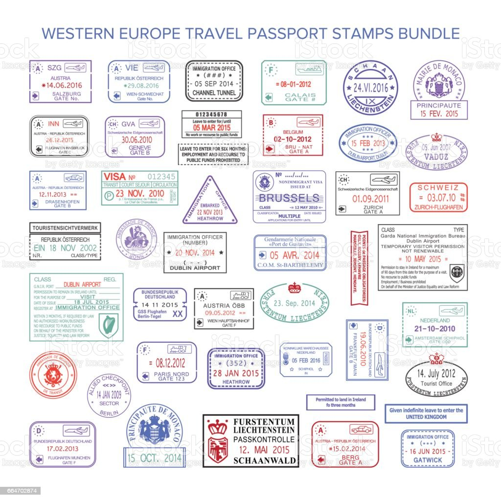 Vector western europe colour travel visa stamps set vector art illustration