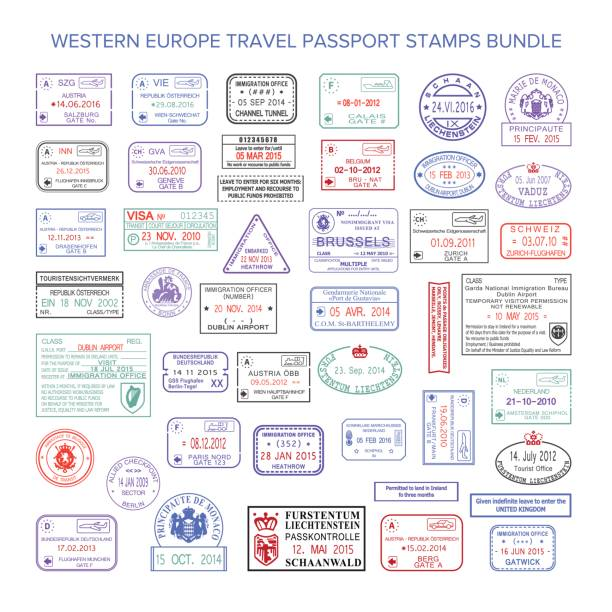 illustrations, cliparts, dessins animés et icônes de visa de voyage couleur vecteur europe occidentale timbres ensemble - passeport et visa